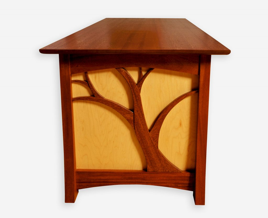 Recycled Mahogany and Maple Entertainment Cabinet