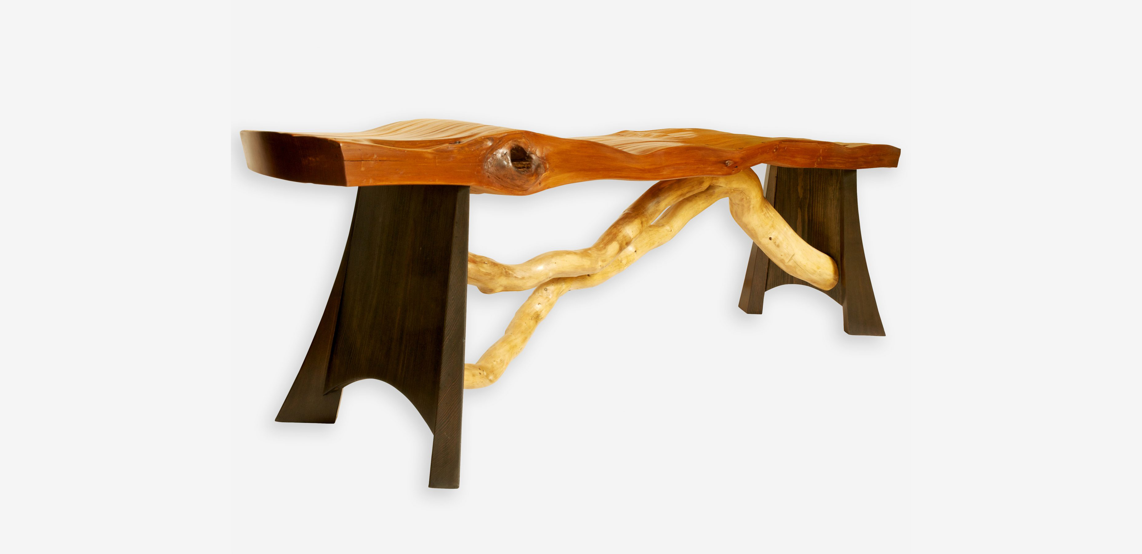 Split Red Cedar and Driftwood Bench