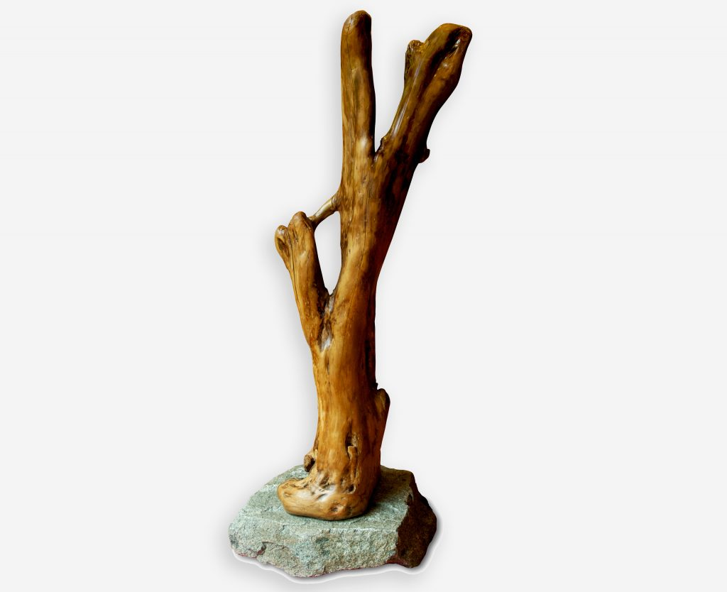 Maple Driftwood and Granite Sculpture